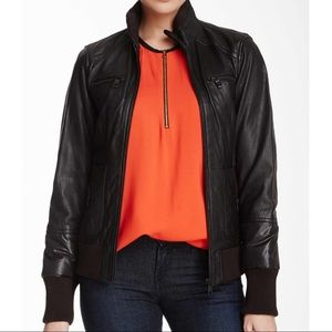 Marc New York black leather bomber puffer jacket